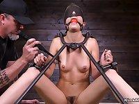 Babe in metal device bondage doggy-style