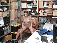 Nervous petite 18-year-old punish fornicateed by a security guard