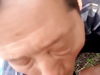 Chinese daddy sucks dry his friend in the countryside