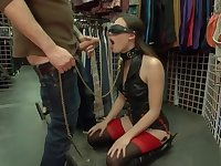 Blindfolded slave anal gangbanged in public