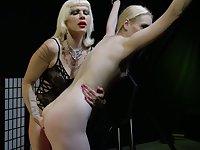 Mature mistress Goddess Starla is spanking seductive tied up blonde