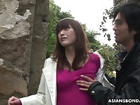 Nicely shaped Japanese gal Sayo Hayakawa gets masturbated outdoors hard