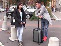 Skinny Russian brunette teen Rebecca Volpetti gets a huge cumshot