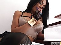 Busty ts babe tugging cock in lingerie