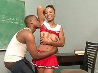 Sporty ebony teen Aja Cummings creampied in a miniskirt