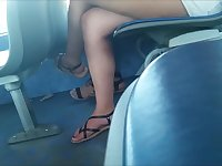 Sexy junior candid legs on bus