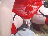 Red lingerie chastity sissygasm