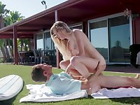 Outdoor sex on the grass for shy Chloe Foster