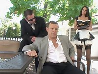 Horny guy asks his maid Nikki Daniels to fuck with him all day long