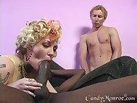 Cuckold licks cum off of Candy Monroe after she got fucked hardcore