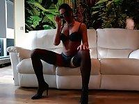 Lina Cavalli posing and masturbates