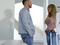 Naughty gal Kayla Kayden gets rid of jeans and rids fat cock well