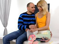 Libidinous babe Missy Luvis making love with her elder boyfriend on the first date
