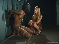 Submissive buddy in slave mask is treated shitty by dominant MILF Brooke Banner