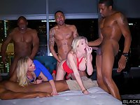 Ash-Blonde female is permanently orgying with many dark-hued boys, until she finishes up downright weary