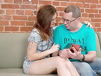 Libidinous ginger teen with plum ass and boobies Gretta gets intimate with old man