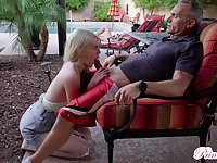 Obsessed with sex teen Megan Holly gets into pants of old step daddy