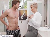 Single woman Ryan Keely is spying on son's best friend wanking in the guest room