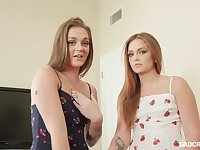 Dude fucks pretty twin stepdaughters Sami and Joey White and cum on their faces