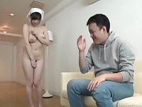 Naughty dude makes his Japanese maid clean the house naked