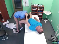 Female nurse gets the doctor in between her legs