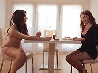 Erotic fun for two lesbians after they tease one another