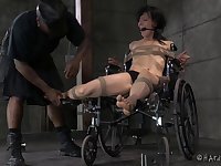Routh torture session with mouth fucking for small tits Elise Graves