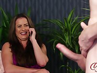 Dude with a long schlong loves teasing horny model Sarah Snow