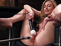 Naughty blonde model Alexa Grace loves being poked by a machine