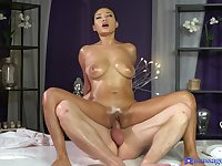 Oiled hottie Cristina Miller moans while getting fucked good