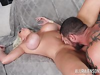 Cougar mom screams and shakes with the young man's cock deep in her wet cunt