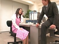 Fucking in the office with nice tits and ass Japanese secretary