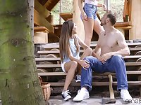 Outdoors FFM threesome with pornstars Nelly Kent and Talia Mint