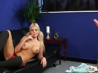 Quite a pleasure for this busty babe to watch her man masturbating