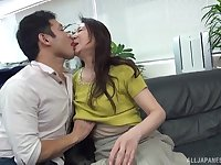 Fine Japan mature undresses for cock after serious foreplay