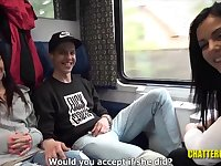 Slutty, Euro brunette is sucking a stranger's dick in the train and expecting to get fucked, too