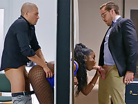 Insatiable bosses ravaged stuck bootylicious dark-hued in the wall