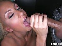Black man slides his dick thru a gloryhole and sexy Zoey Portland rides