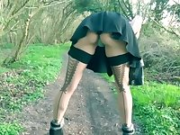 British Slut Wife In French Lace Stockings Stripping Off In The Woods