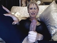 Hottest big tits blonde plays her huge cock