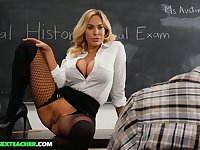 Lewd sinful tanned MILFie tutor Olivia Austin wanna be fucked on the desk