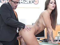 Latina bombshell Susy Gala swallows a huge load at the office